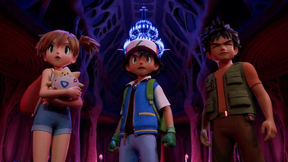 4-Mewtwo Strikes Theatrical liberación moderadamente jugado Pokemon Pikachu Back