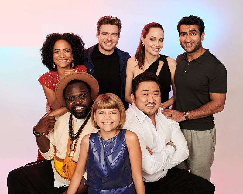 Eternals (2020). Angelina Jolie, Richard Madden, Dong-seok Ma, Brian Tyree Henry, Kumail Nanjiani, Lauren Ridloff y Lia McHugh