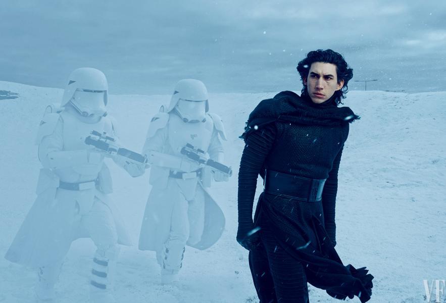 Esta primera imagen de Kylo Ren sin máscara confirma que Adam Driver es nuevo villano de Star Wars, además de ser el comandante de la Primer Orden. *Fotografía de Annie Leibovitz para Vanity Fair.