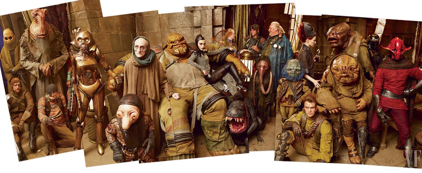 El salón del castillo de un pirata llamado Maz Kanata, lleno de nuevas razas de personajes. *Fotografía de Annie Leibovitz para Vanity Fair.