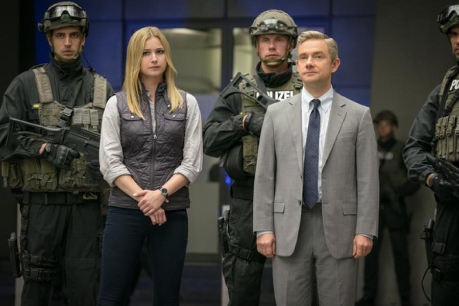 Agent 13/Sharon Carter (Emily VanCamp) and Everett K. Ross (Martin Freeman)