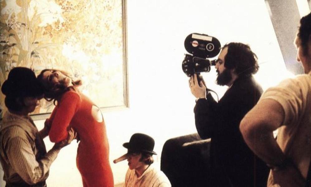 Stanley Kubrick durante el rodaje de La Naranja Mecánica (1971)