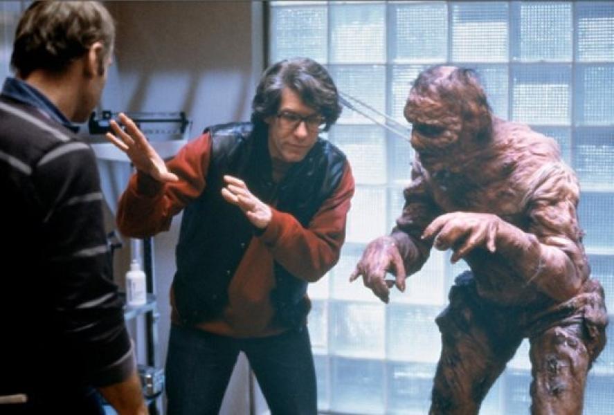 David Cronenberg y Jeff Goldblumen el rodaje de La Mosca (1986)